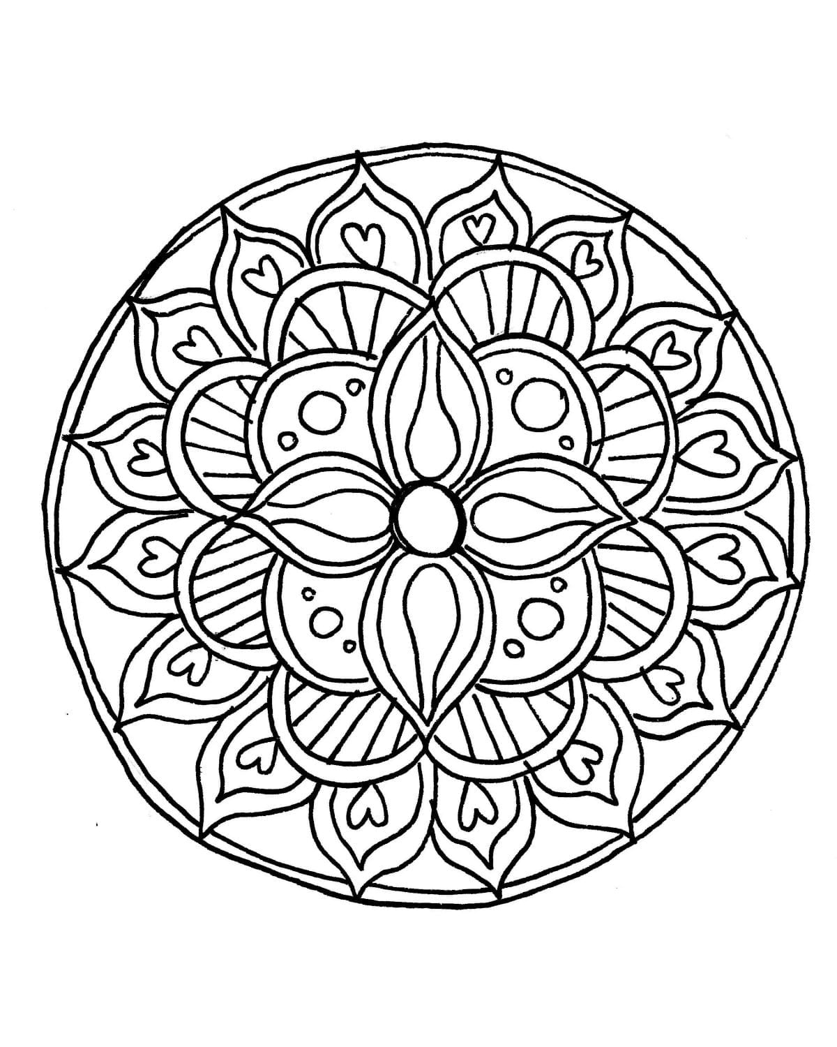 Astonishing Easy Mandala Coloring Pages Bourseauxkamascom Picture