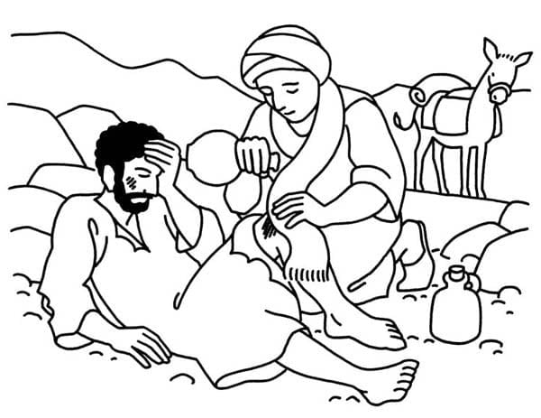 Stylish And Peaceful The Good Samaritan Coloring Page Brilliant