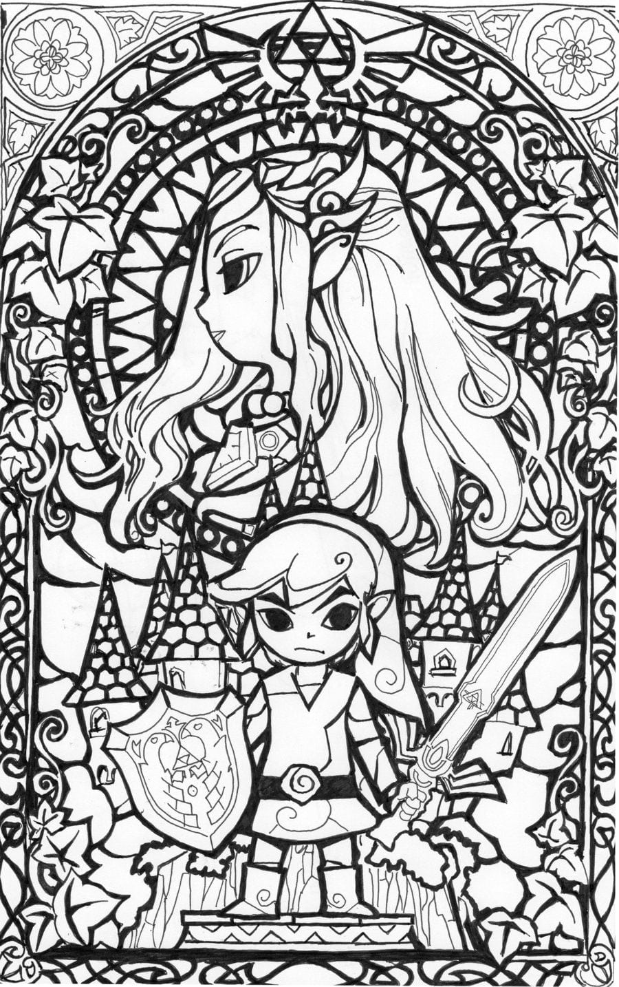 Awesome Stained Glass Zelda Coloring Page! Gonna Try This In