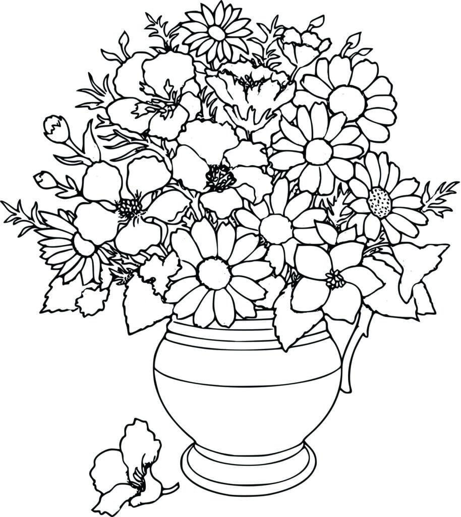 Beauteous Coloring Page Flower Printable For Tiny Flower Coloring