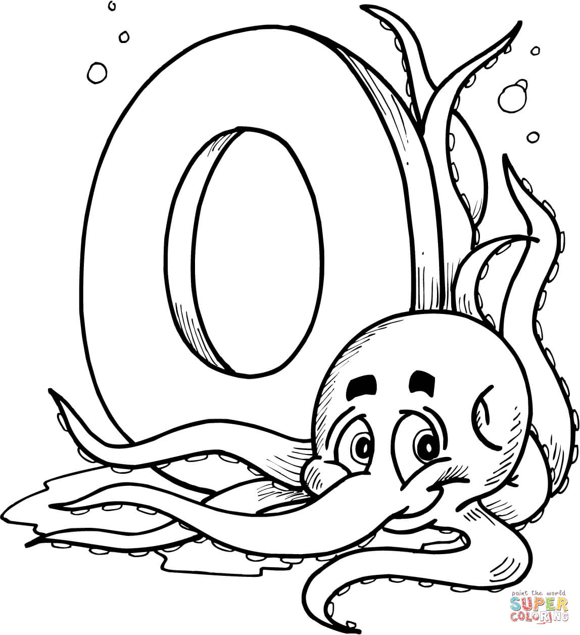Beautiful Design Letter O Coloring Pages Is For Octopus Page Free