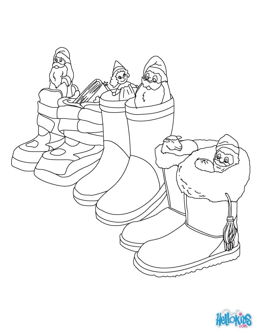 German Boots Filled With Gifts Coloring Pages
