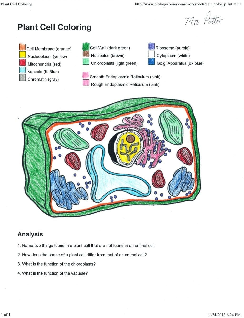 Biology Corner Plant Cell Coloring Page