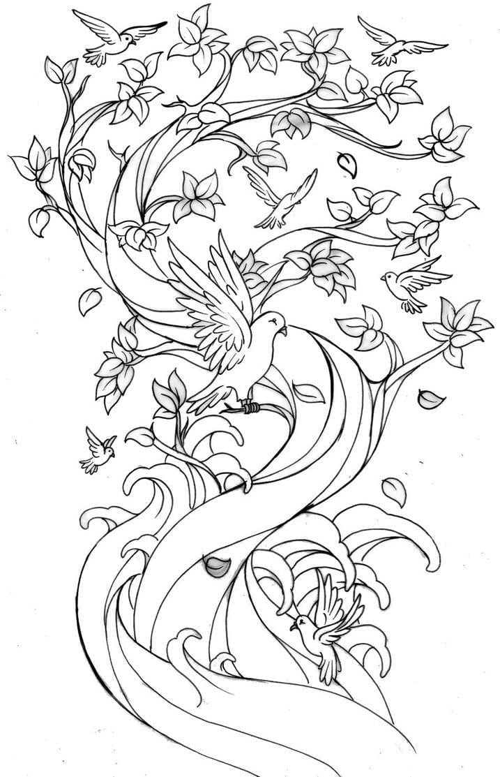 New Cherry Blossom Coloring Page Design