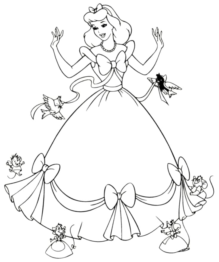 Cinderella Coloring Pages To Print For Free