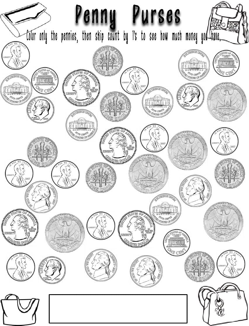 Coin Coloring Pages For Children