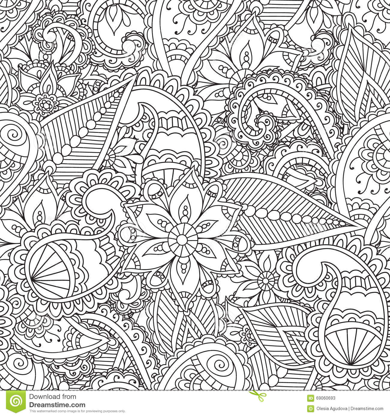 Coloring Pages Adults Seamless Pattern Henna Mehndi Doodles