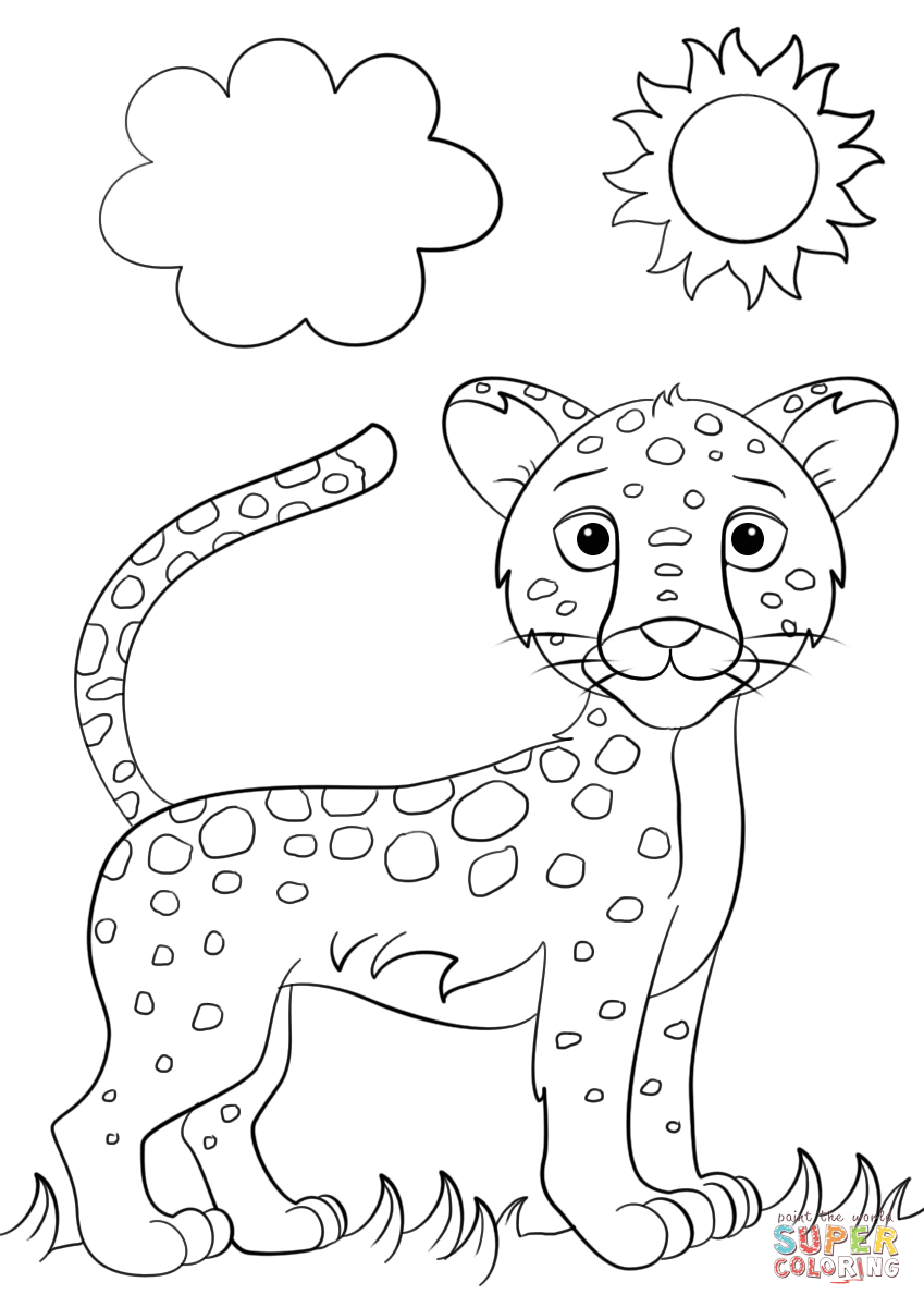 Cute Cartoon Jaguar Coloring Page