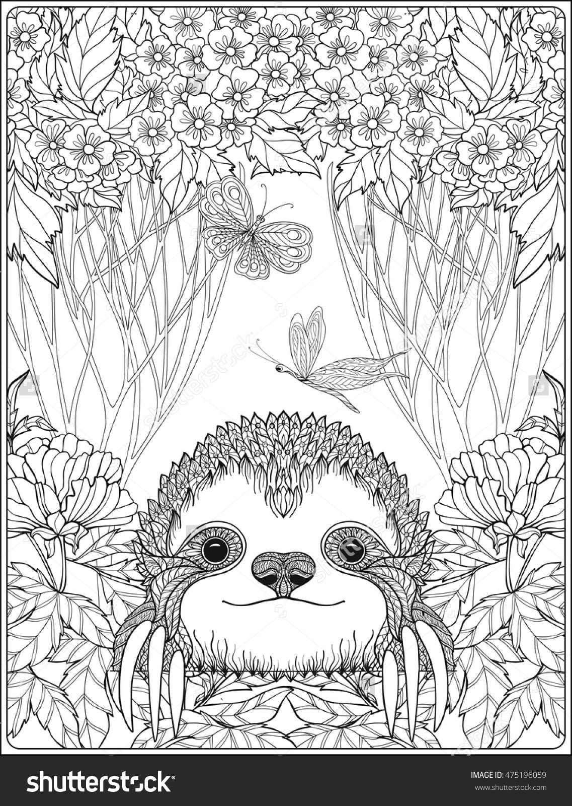 Cute Sloth In Forest Coloring Page For Adults Shutterstock Sloth