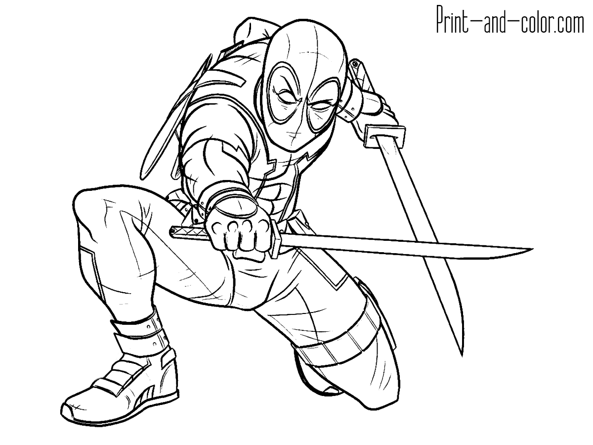 Deadpool Coloring Pages 3 Ready To Fight Swords Book