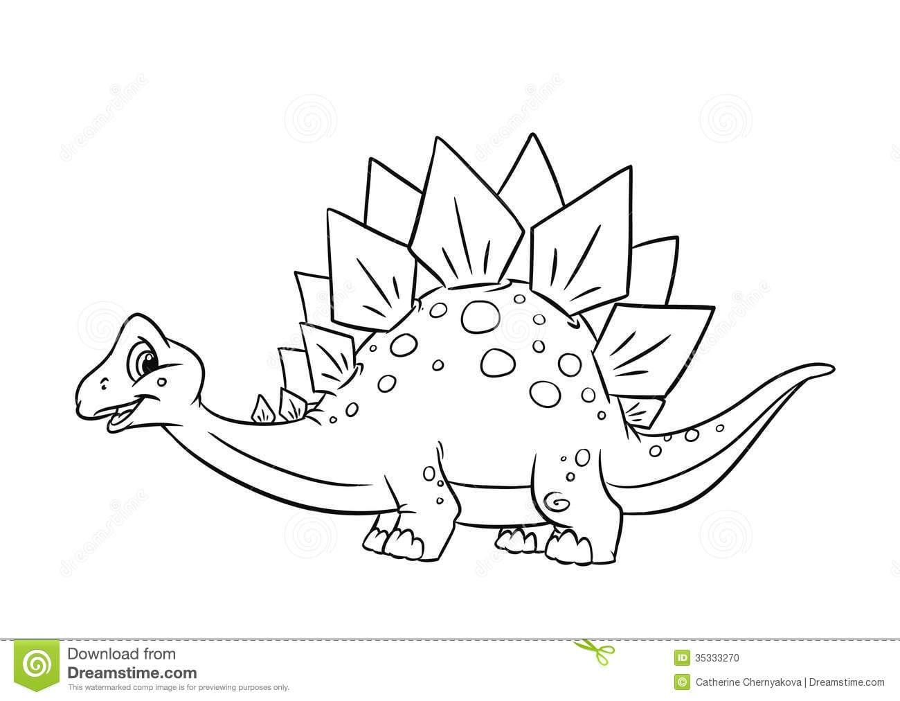 Dinosaur Stegosaurus Coloring Pages Stock Illustration