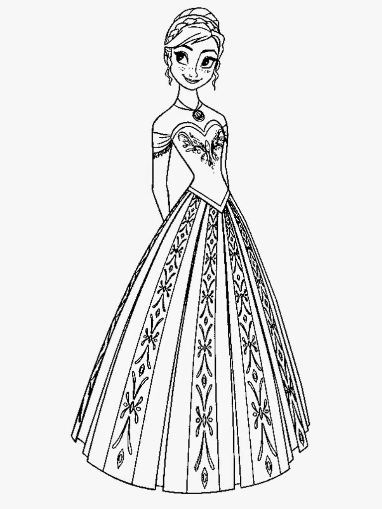 Disney Princess Coloring Pages Frozen Anna With