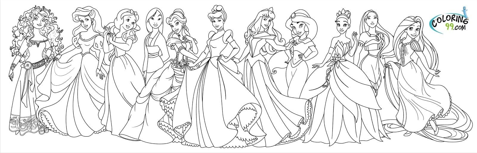 Disney Princesses Coloring Page Princess Colouring Pages Beauty