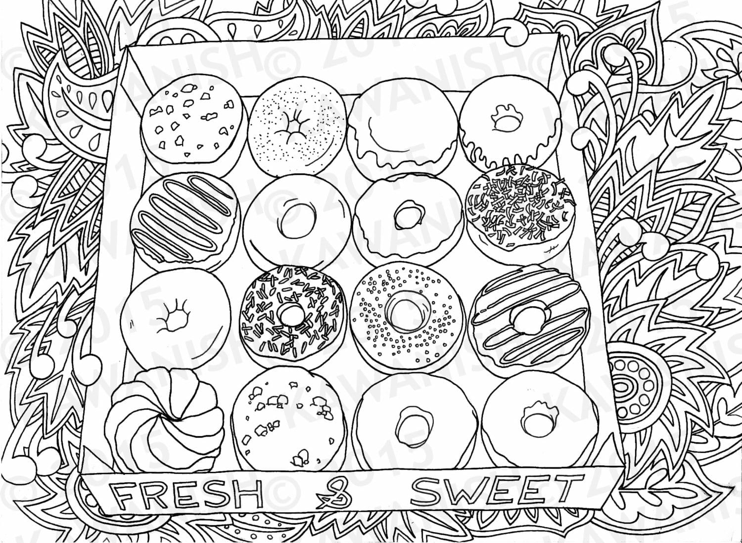 Donuts Doughnuts Adult Coloring Page Gift Wall Art By Kawanish New
