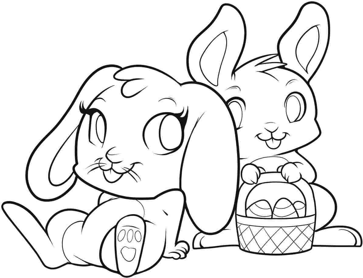 Easter Bunnies In Love Free Coloring Page • Animals, Easter