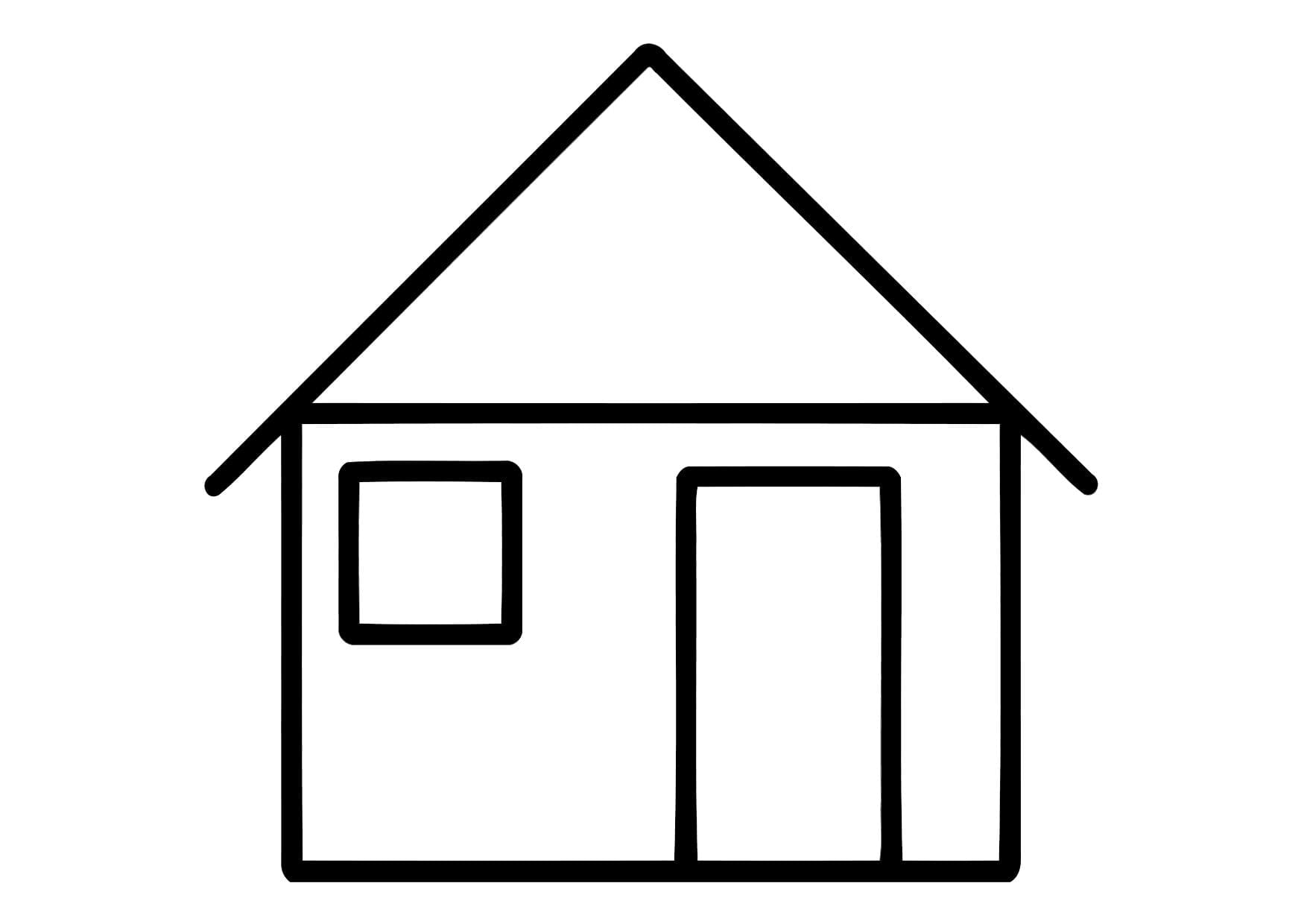 Easy House Coloring Pages With Picture Of A
