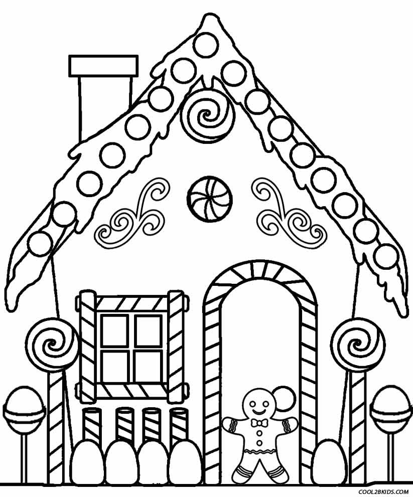 Easy Pictures Of Houses To Color Best House Printable Gingerbread