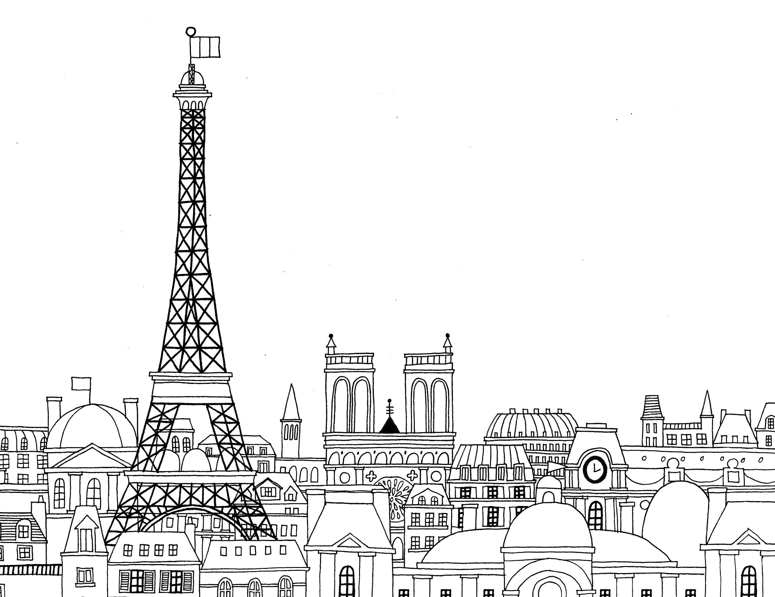 Eiffel Tower Coloring Page 19 With Eiffel Tower Coloring Page