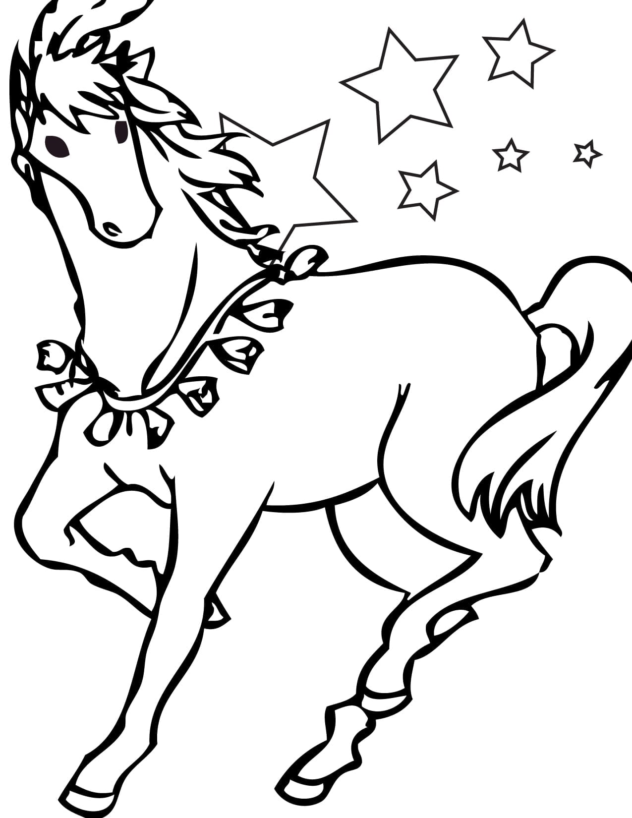 Elegant Horse Coloring Page 36 With Additional Seasonal Colouring