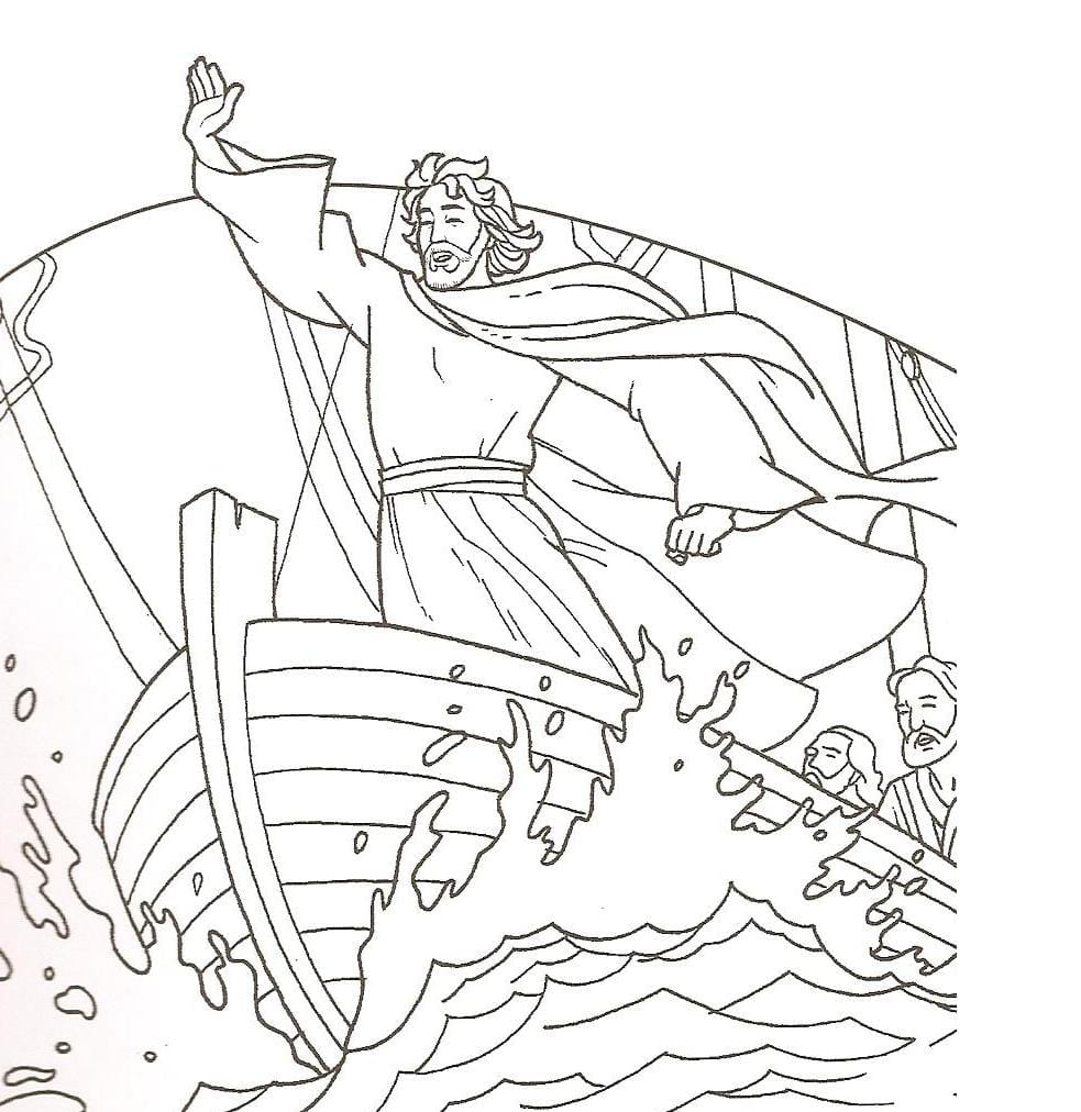 Elegant Jesus Calms The Storm Coloring Page 63 For In