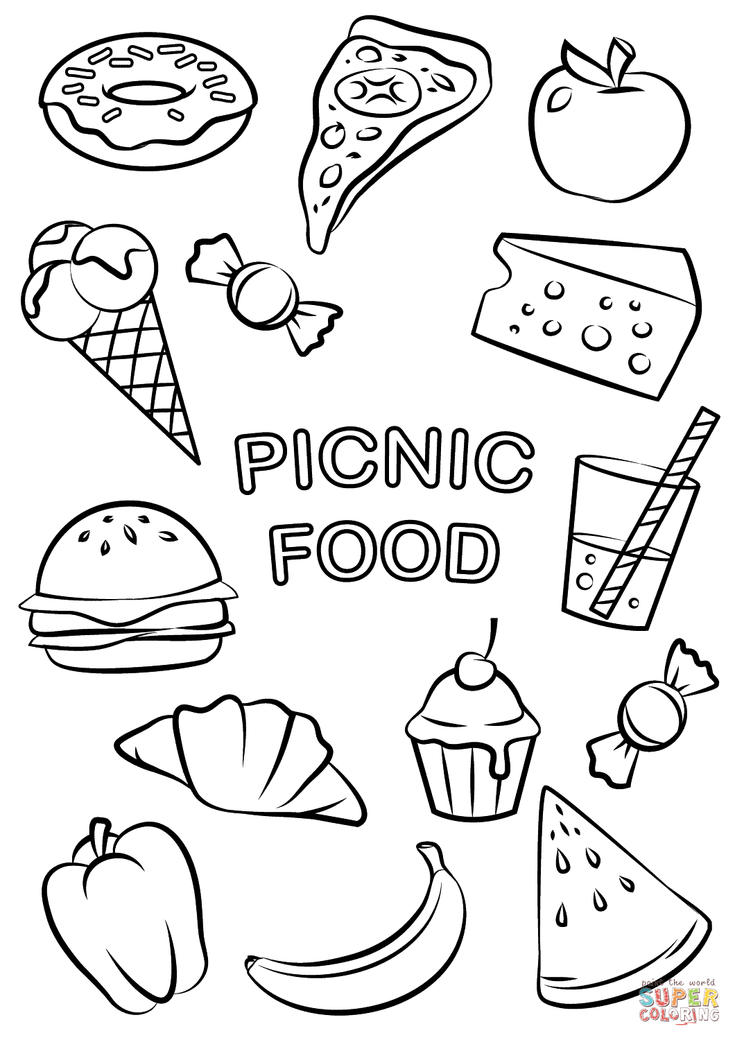 Endearing Food Coloring Pages For Kids Coloring In Cure Picnic