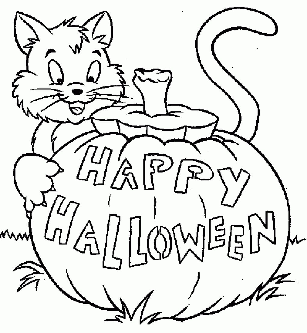 On Simple Halloween Coloring Pages