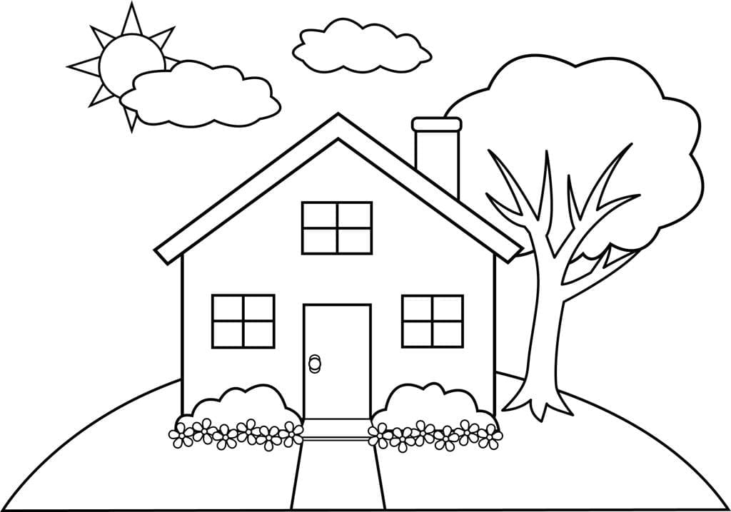 Excellent Ideas Coloring Pages Of Houses House Printables Online