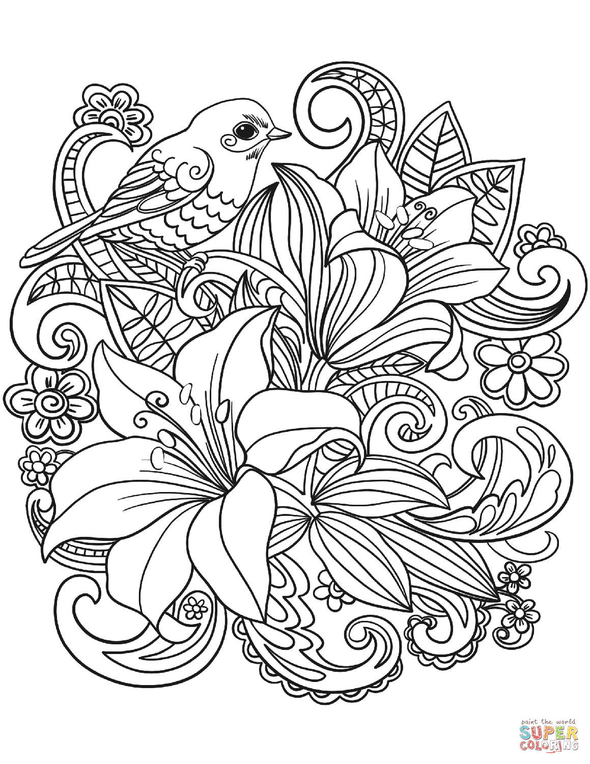 Floral Coloring Pages Skylark And Flowers Page Free Printable