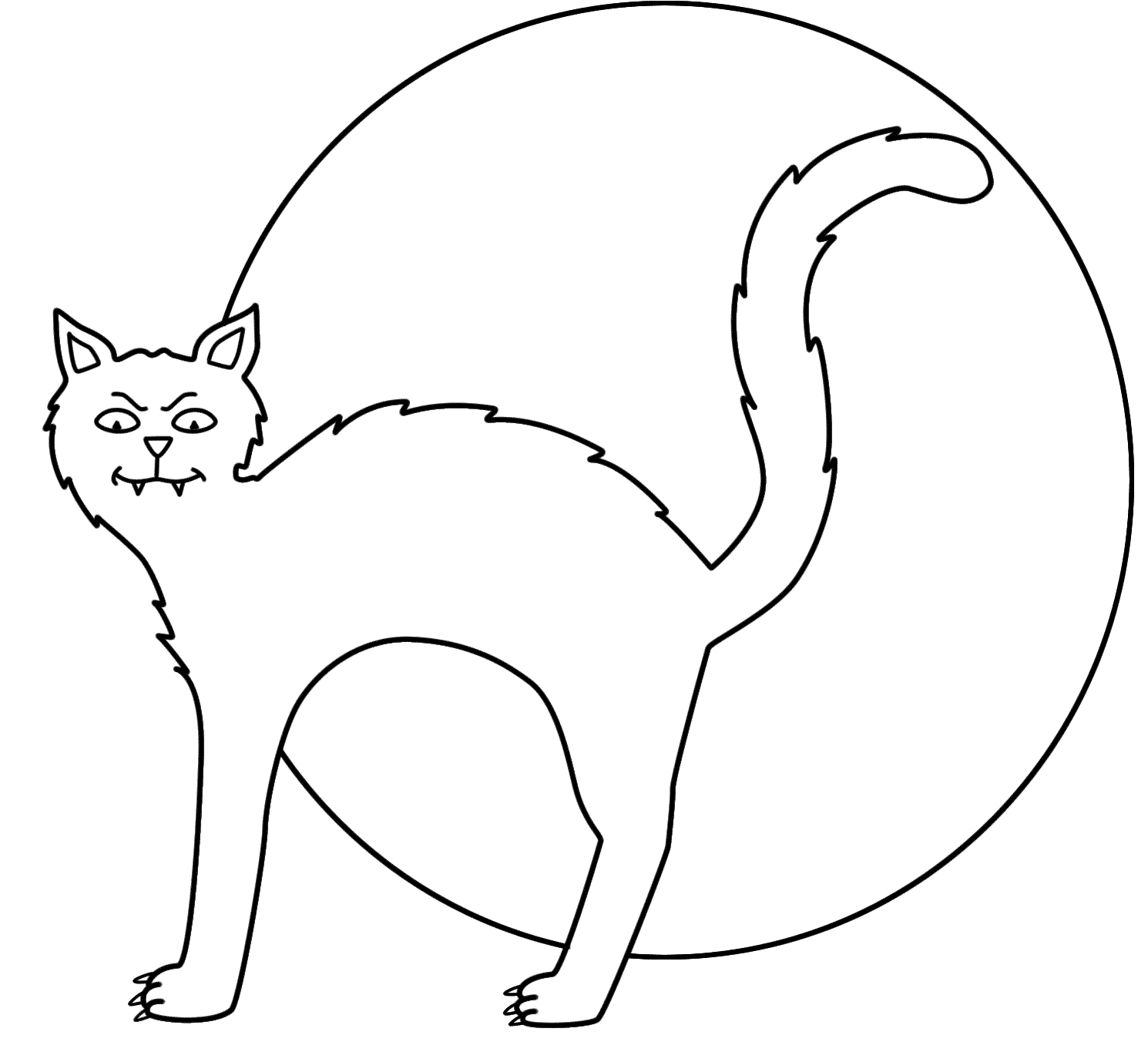 Fortune Scary Black Cat Coloring Pages Drawing And White At