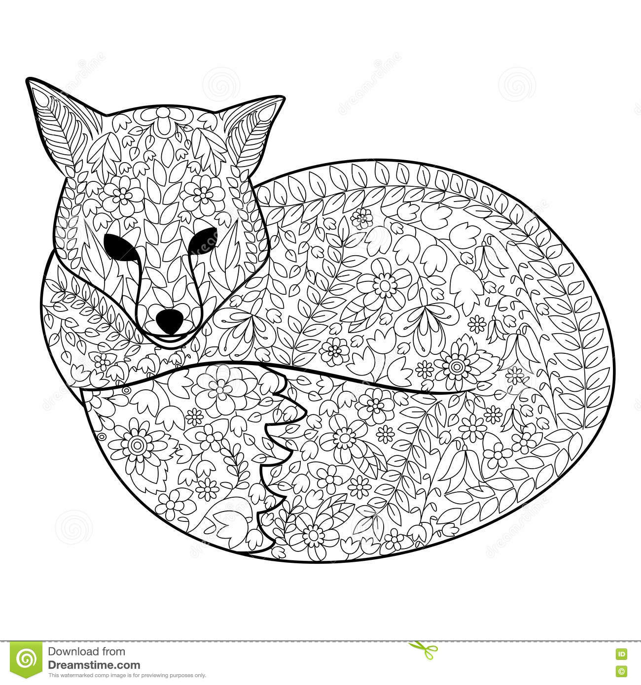 Fox Coloring Book For Adults Vector Stock Vector
