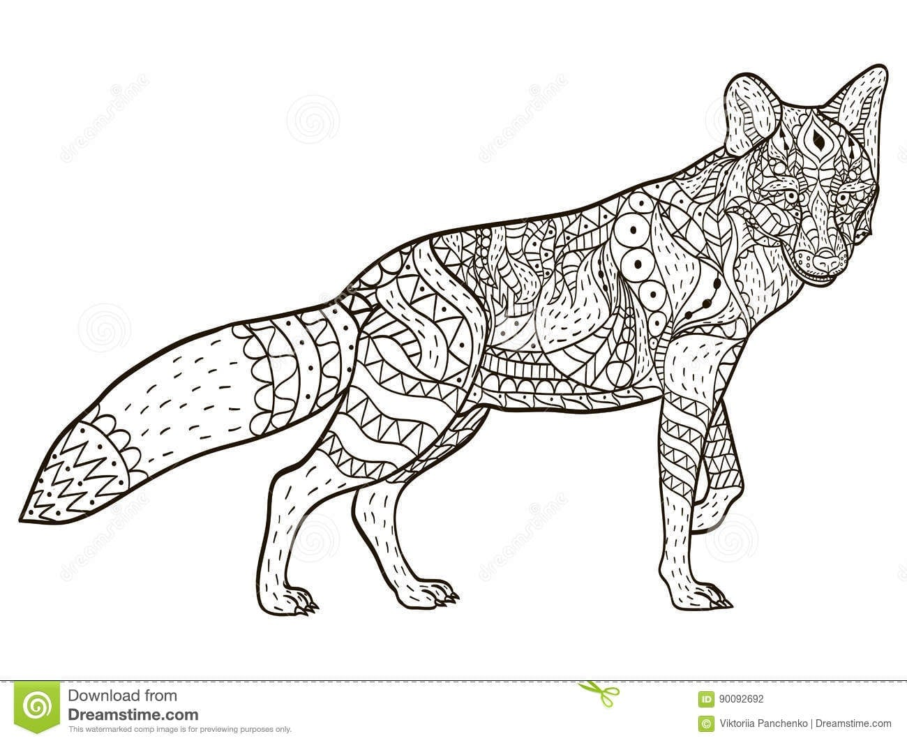 Fox Coloring Book Vector For Adults Stock Vector