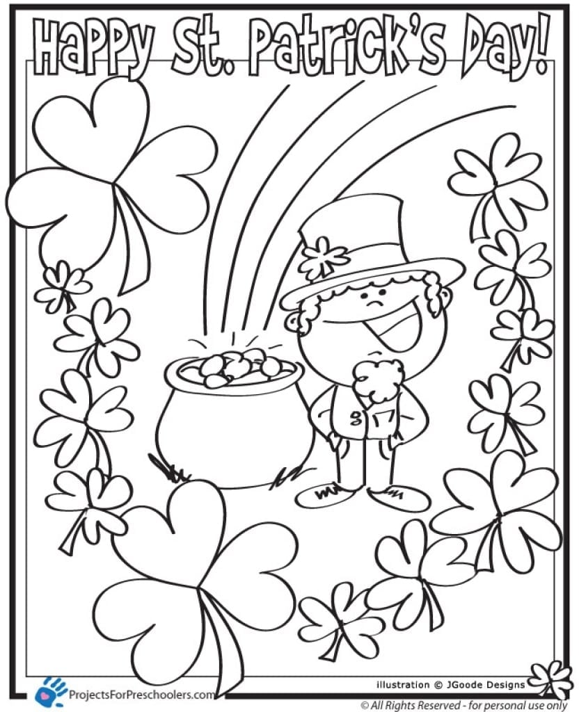 Free St Patrick S Day Coloring Pages Saint Patricks Pertaining To