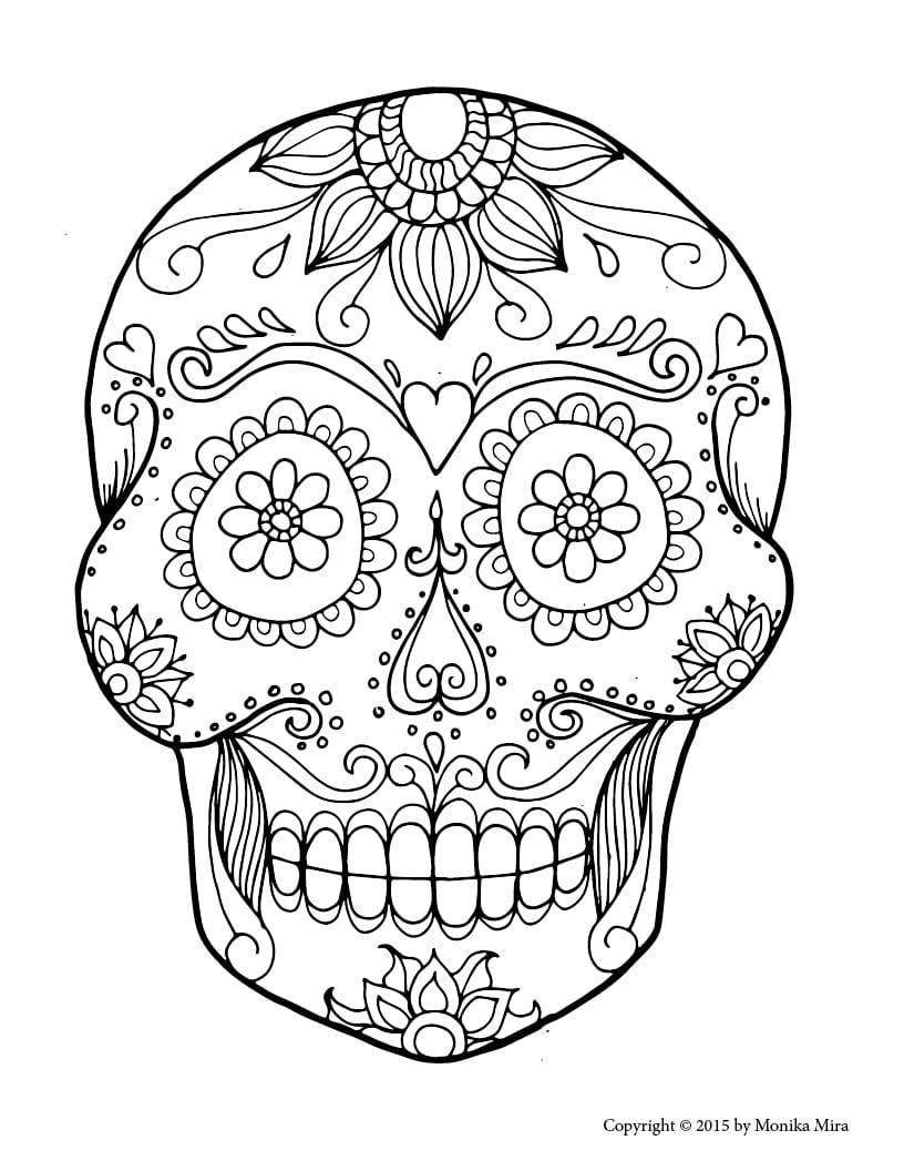 Free Printable Sugar Skull Coloring Sheets