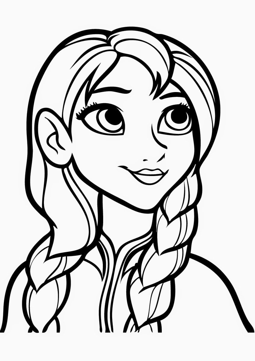 Beautiful Anna Free Coloring Page • Disney, Frozen, Kids Coloring