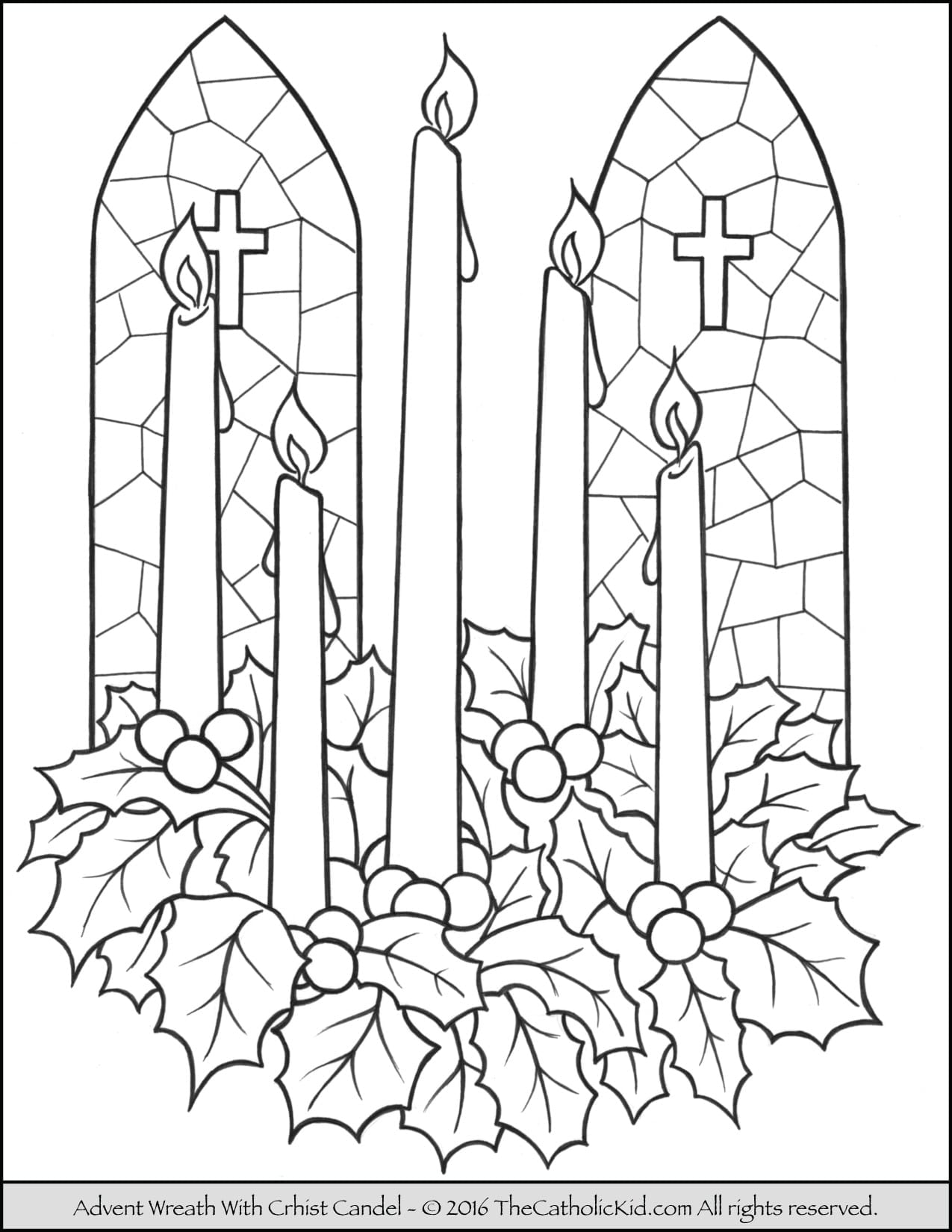 Advent Wreath Coloring Page With Of 3
