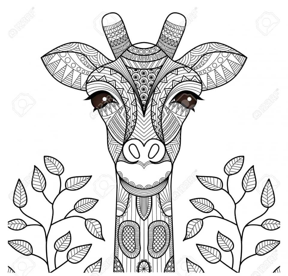 Get This Giraffe Coloring Pages For Adults Zentangle Art 67318 !