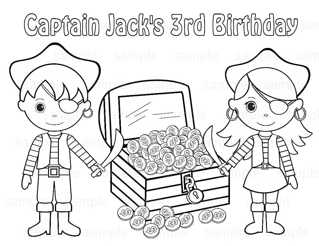 Girl Pirate Coloring Pages Flowers Big Within Treasure Chest Page