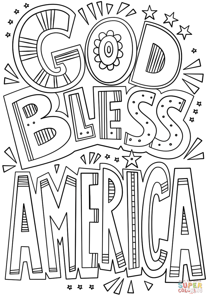 God Bless America Doodle Coloring Page