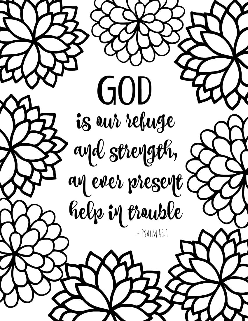 God Is Our Refuge In Scripture Coloring Pages For Adults