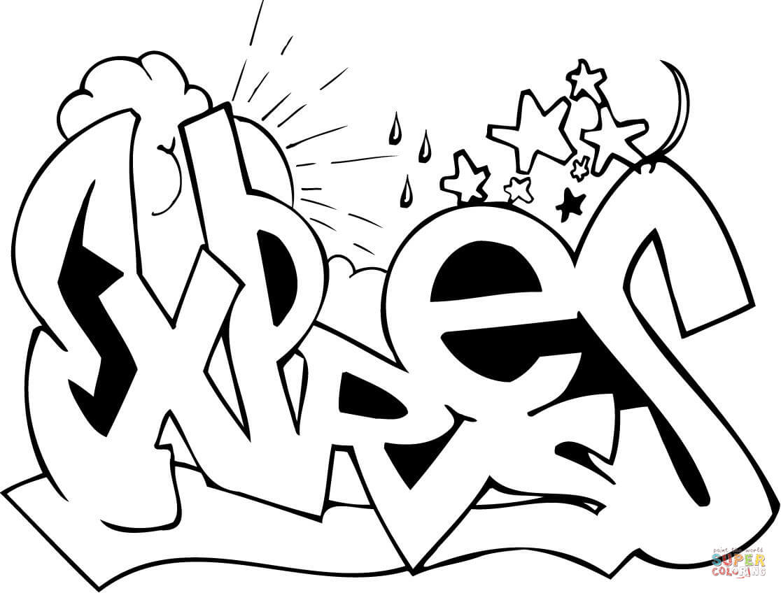 Graffiti Coloring Pages Free And