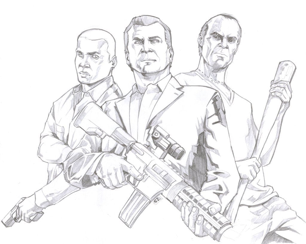 Grand Theft Auto V By Csteoh On Deviantart Within Gta 5 Coloring