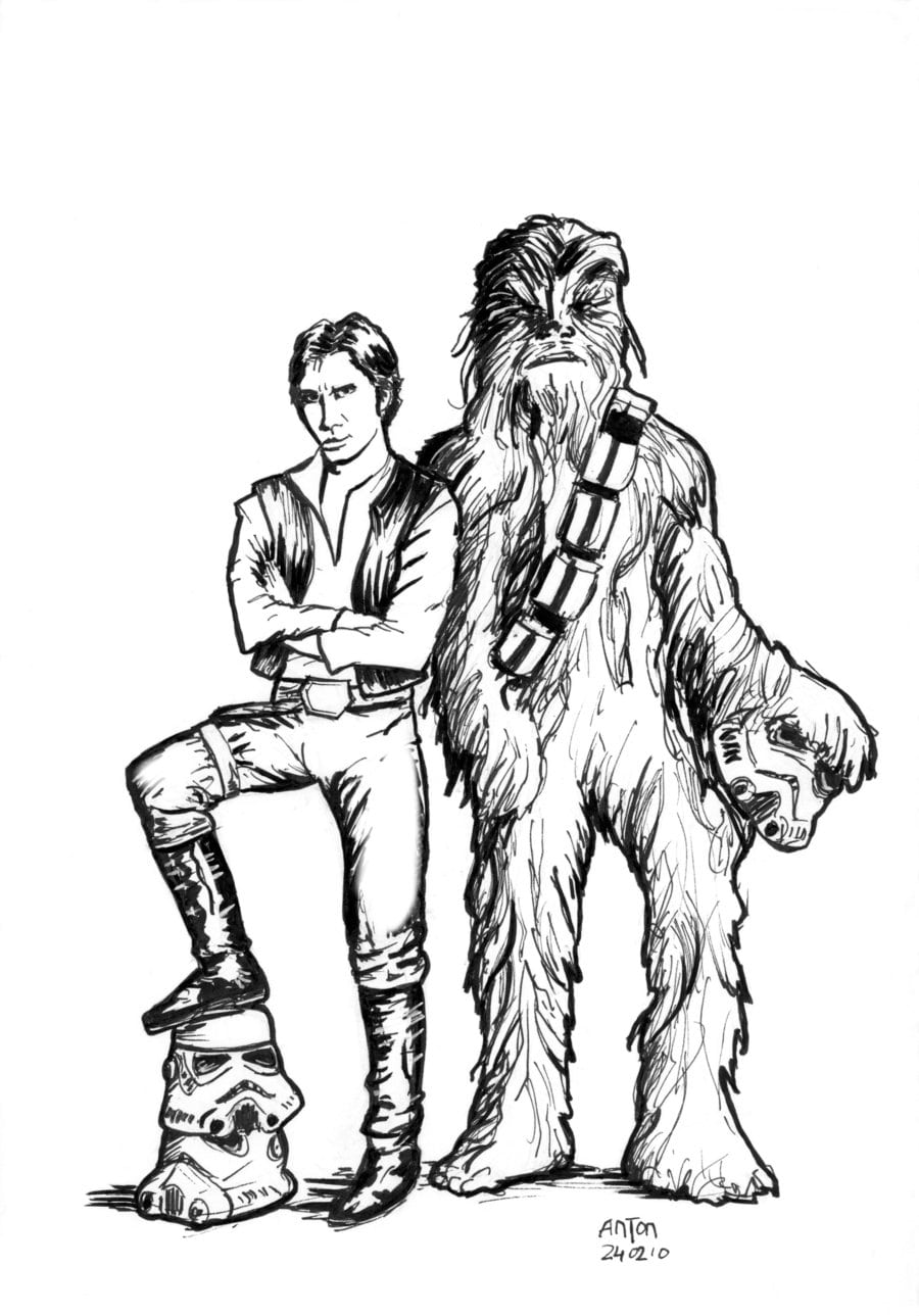 Han And Chewie Coloring Page By Antonvandort On Deviantart Within