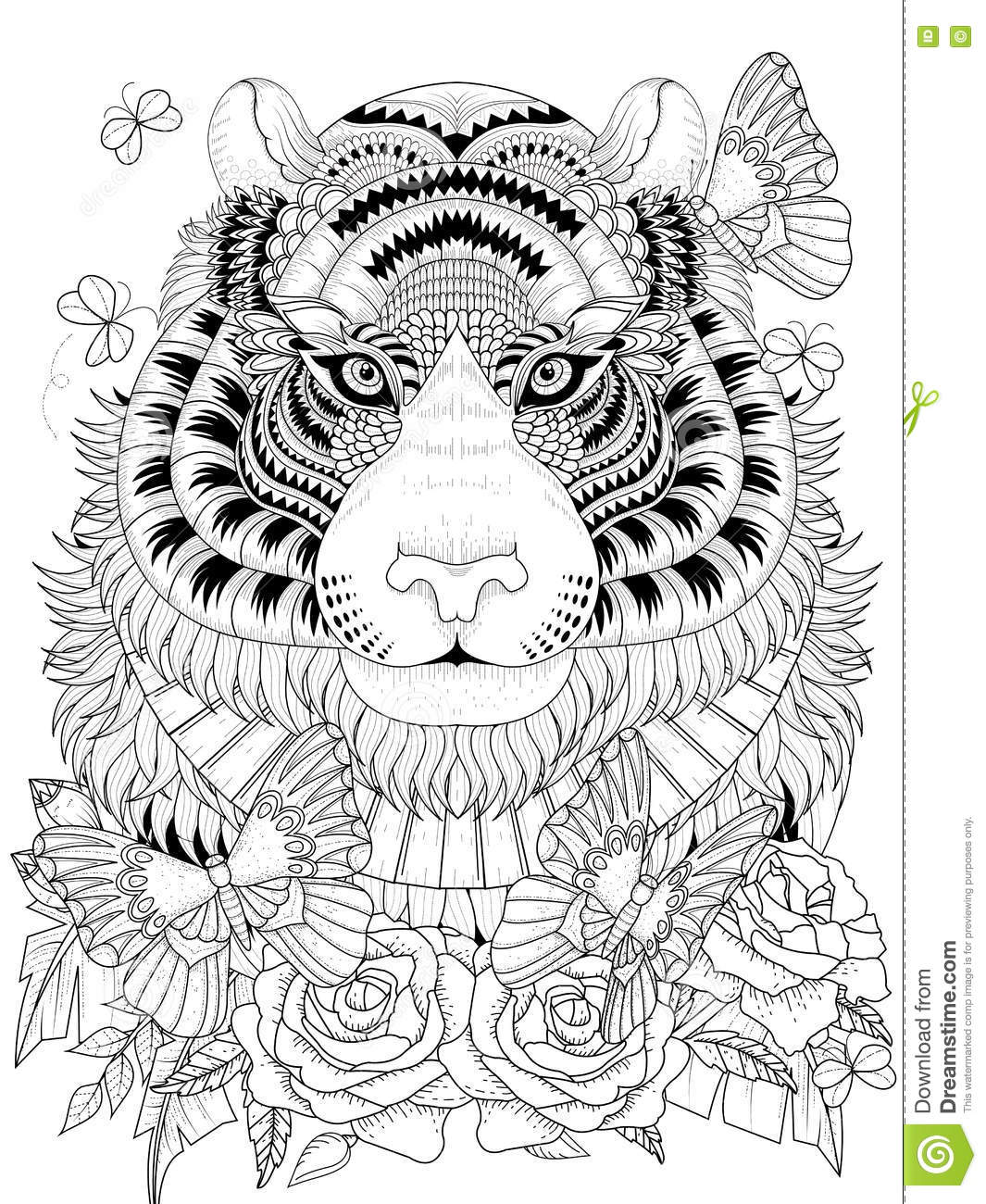 Imposing Tiger Adult Coloring Page Stock Vector