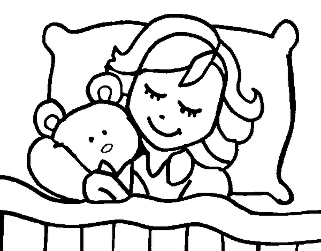 Impressive Sleeping Coloring Page Click This Size Link Bed