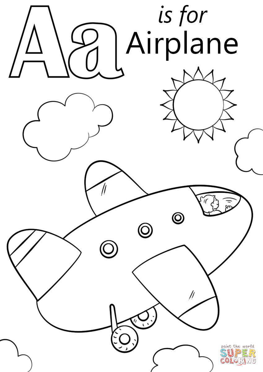 Improved Letter R Coloring Sheet A Is For Airplane Page Free