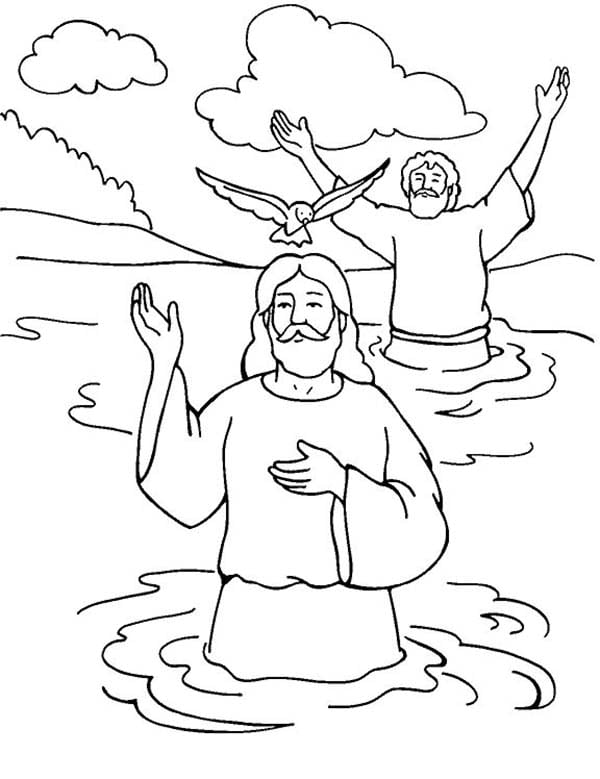 Jesus Baptism Coloring Page Perfect