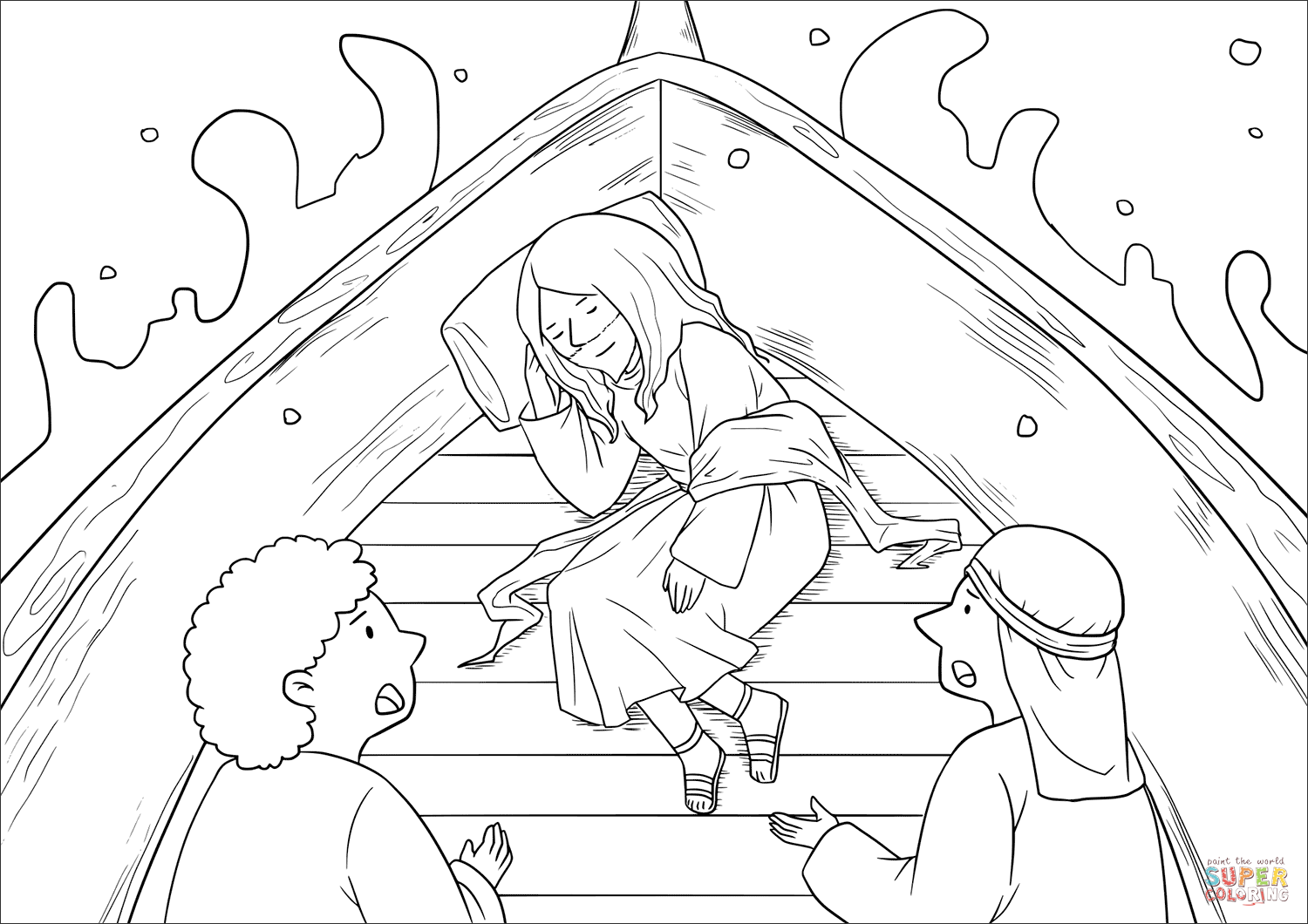 Jesus Calms The Storm Coloring Page 36 With Jesus Calms The Storm