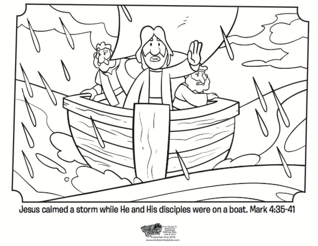Jesus Calms The Storm Coloring Page 83 With Jesus Calms The Storm