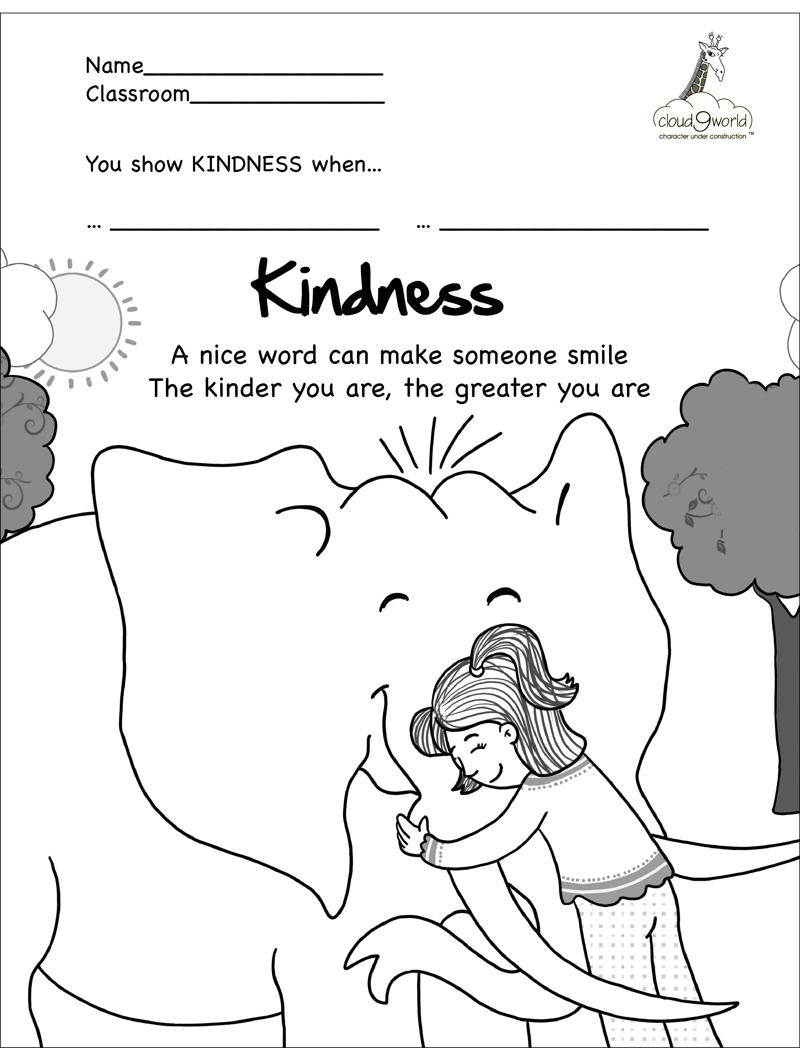 Kindness And Kindness Coloring Pages