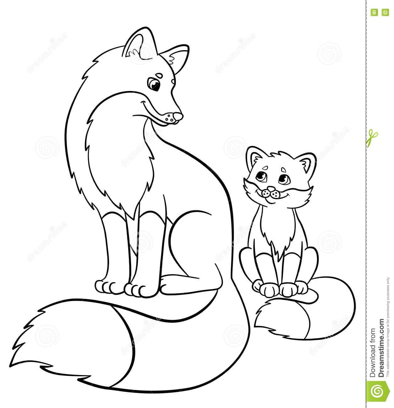 Last Minute Baby Fox Coloring Pages Wild Animals Mother With Her